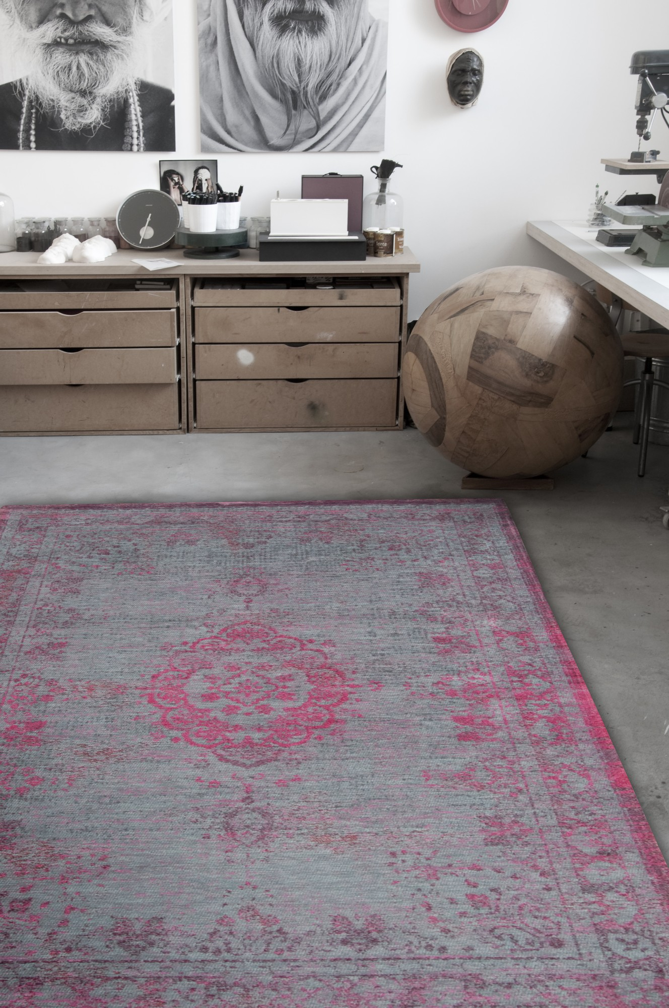 Louis De Poortere Fading World Pink Flash 8261 Rug Best